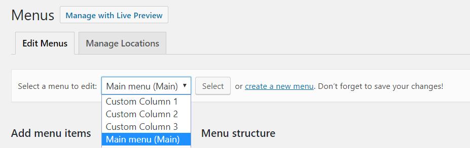 Menu for Columns