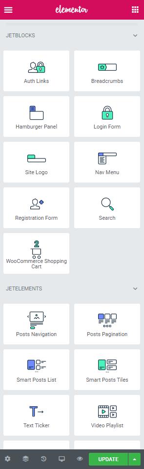 elementor widgets for header