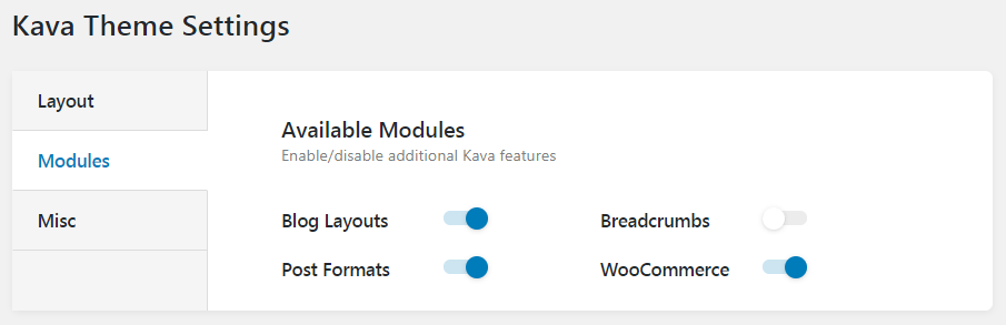 Modules at Kava theme