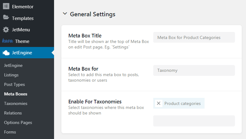 Meta box for the product categories