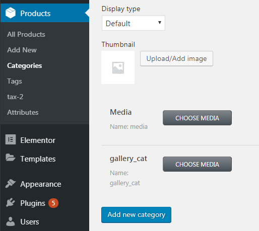 Add values to meta fields for the products categories
