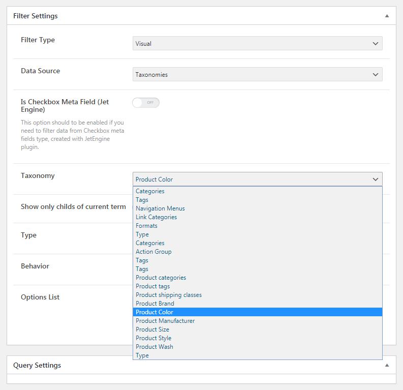 Visual JetSmartFilter settings