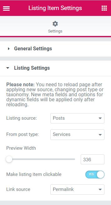 Listing Settings