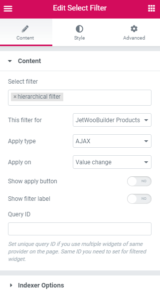 Select filter settings