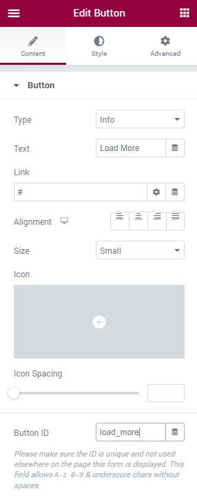 Button widget settings