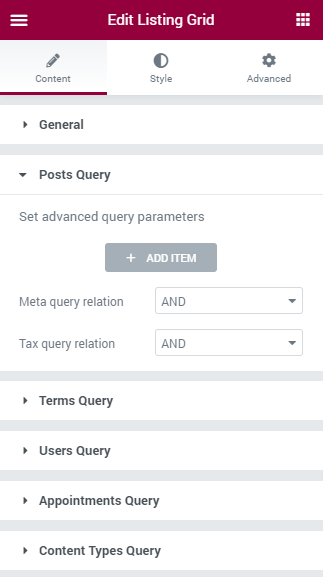 Listing Grid queries
