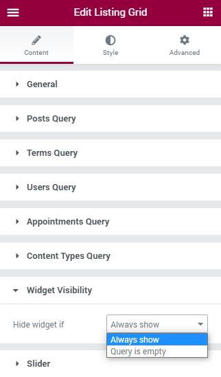 Listing Grid visibility