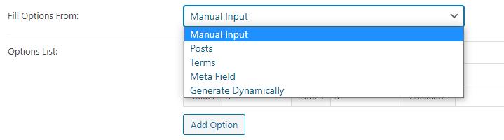 select manual input