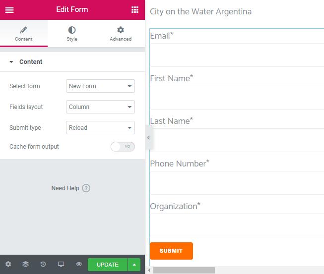 Form widget setup