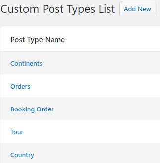 Custom Post Type List