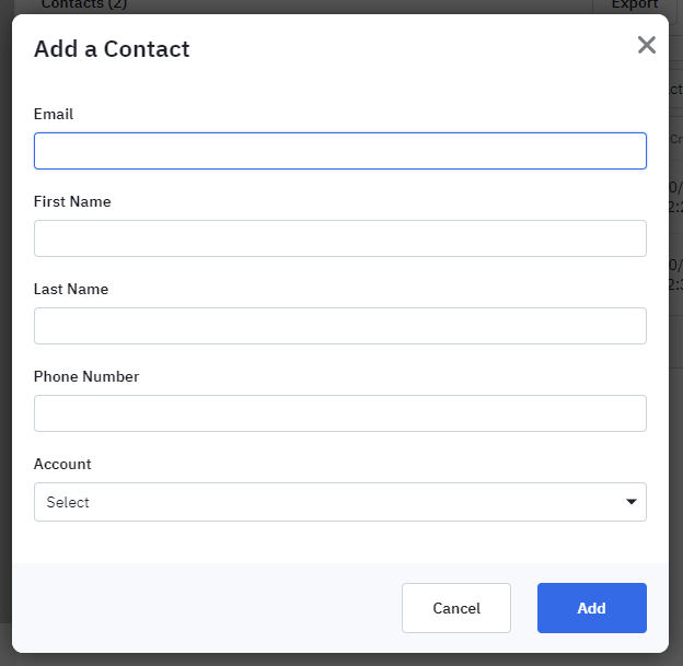 ActiveCampaign contacts window