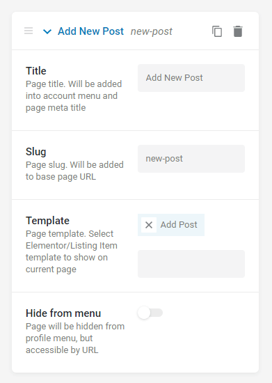 profile builder post structure
