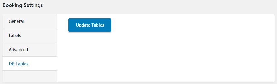DB Tables settings