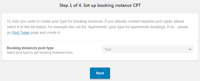 Step 1 of 4. Set up booking instance CPT