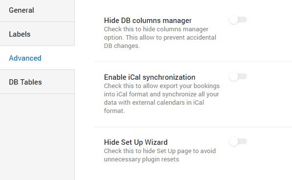 Booking Advanced settings