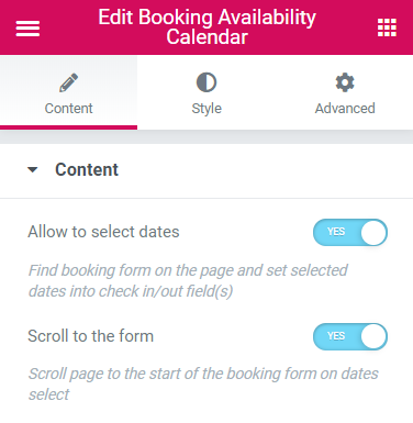 Booking Availability Calendar settings