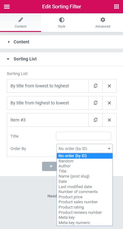sorting list