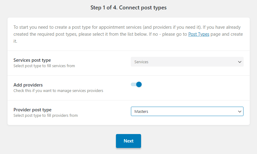 Post types step one