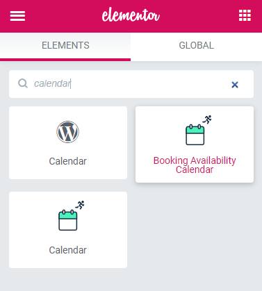 Booking Availability Calendar widget