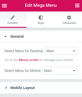 General Settings for the mobile