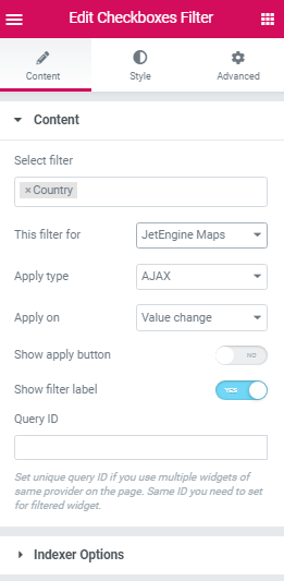JetSmartFilters and Map Listing widget