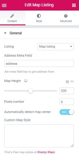 Map Listing widget. Address meta field