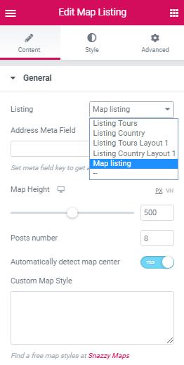 Map Listing widget. Listing source