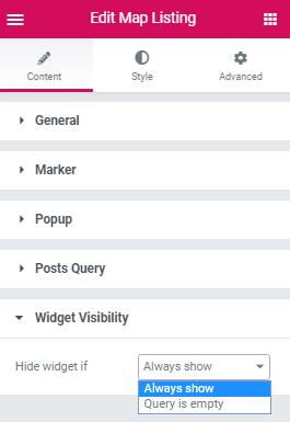 Map Listing widget. Widget Visibility