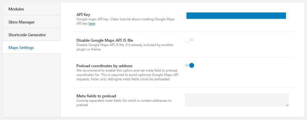 Maps Settings