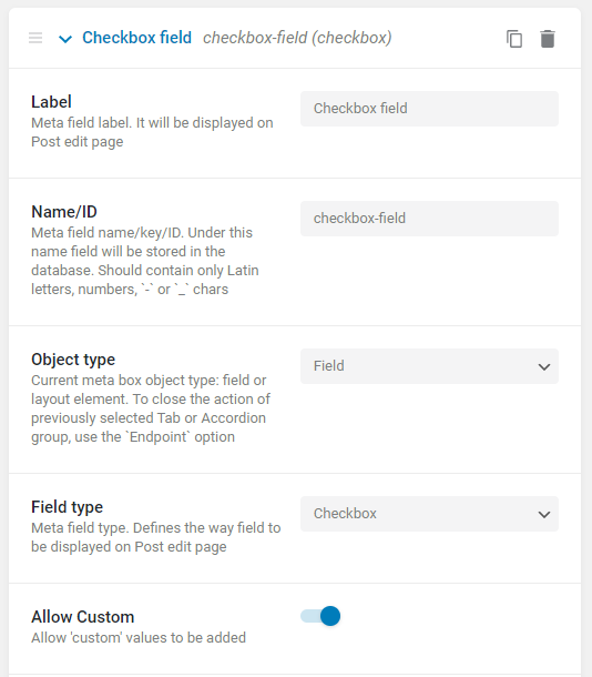 checkbox custom value