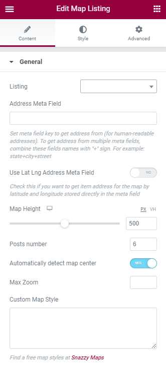 map listing General settings in Elementor
