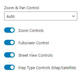 map listing General settings in Gutenberg