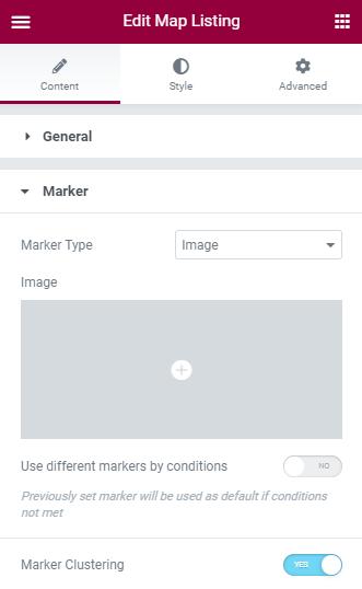map listing Marker settings in Elementor