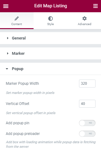 map listing Popup settings in Elementor
