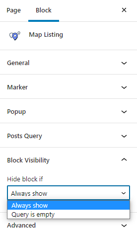 map listing Visibility settings in Gutenberg
