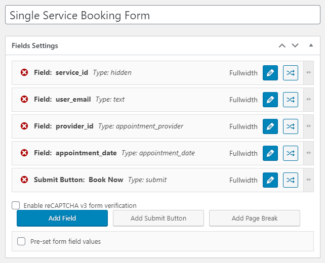 single service booking form