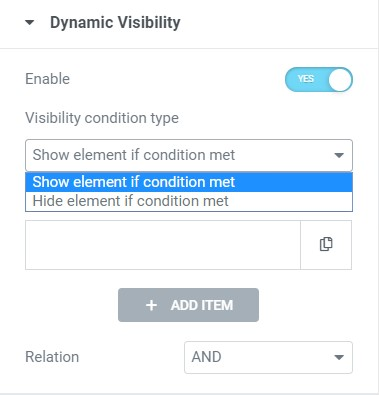 visibility condition type