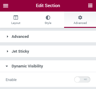 turning on the dynamic visibility toggle