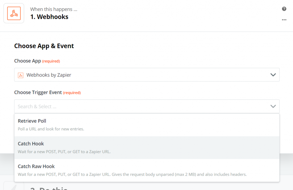 choosing the action for Webhooks app