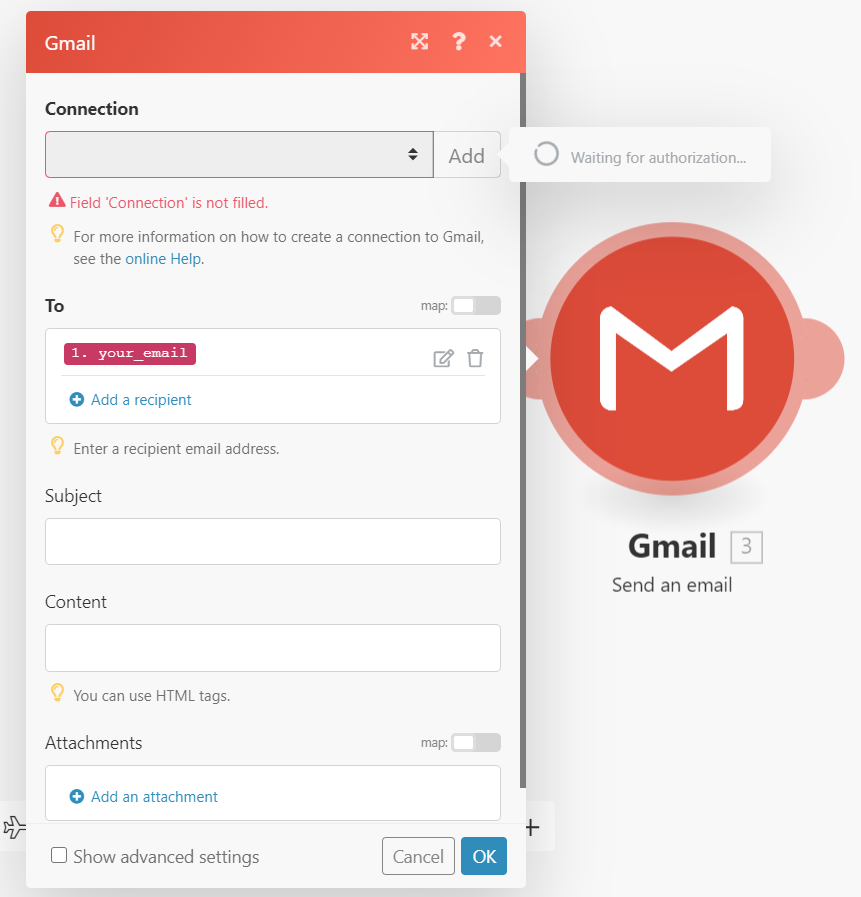 advanced settings for Gmail in Integromat