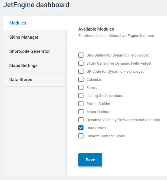 enabling data stores module