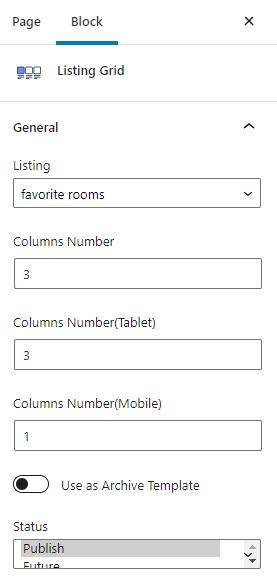 listing grid for favorites