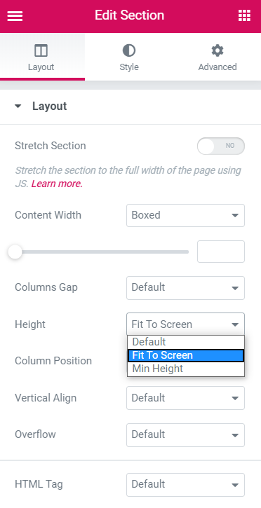 fit to screen option of height row in section settings