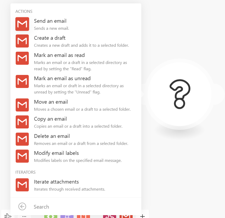 the list of actions for Gmail app in Integromat