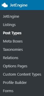 JetEngine menu post types