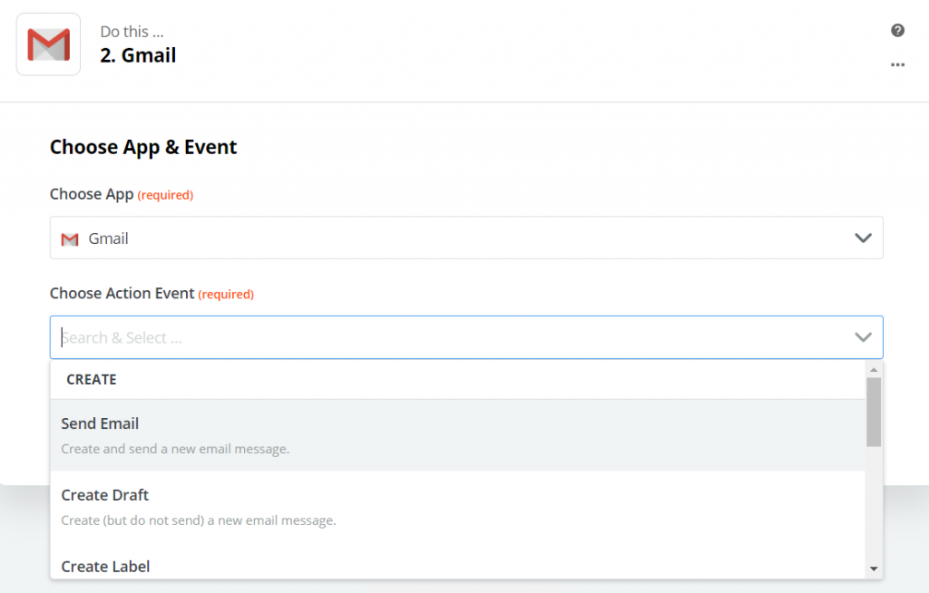 defining an action for Gmail app in Zapier