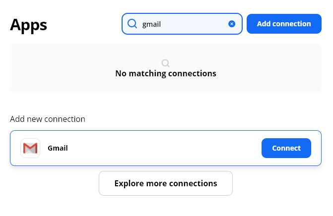 choose Gmail in Zapier