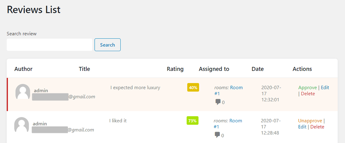 All Reviews tab of JetReviews dashboard