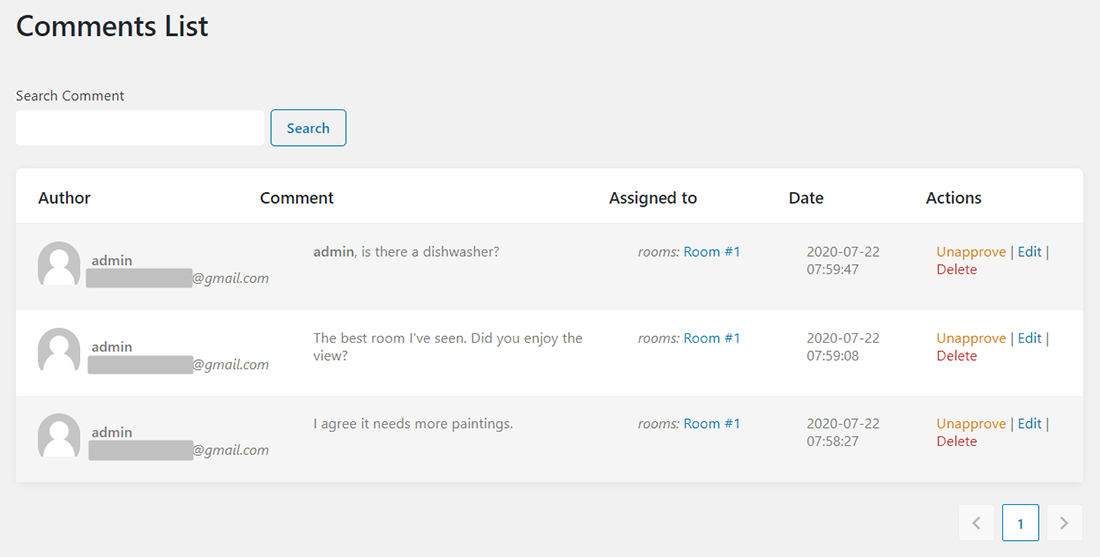 Comments tab of JetReviews dashboard