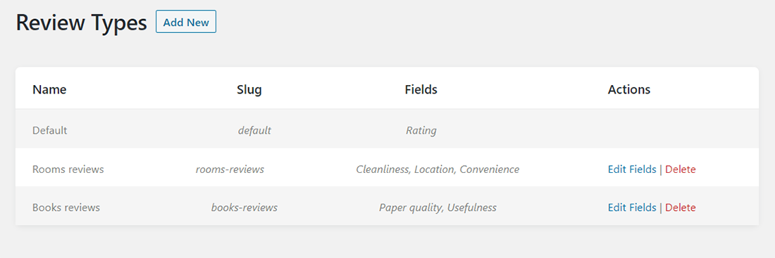 Review Types tab of JetReviews dashboard